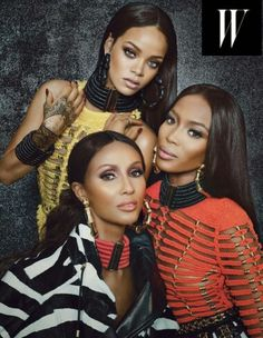 Fashion killa Rihanna covers the September 2014 issue of W magazine. Inside bad gal Riri poses with supermodels Naomi Campbell and Iman. Looks like the Rihanna Reign continues. See photos below. Naomi Campbell, My Black Is Beautiful, Beautiful People, Beautiful Women, Black Girls Rock, Black Girl Magic, Phresh Out The Runway, Gisele Bündchen, Klum