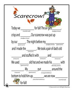 Fall Mad Libs for Kids Fall Mad Libs - Scarecrow – Classroom Jr. - also has some good educational worksheets