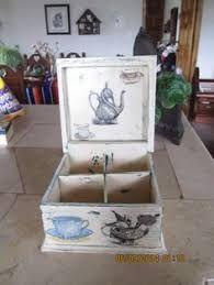 Resultado de imagen de cajas de te en decoupage vintage