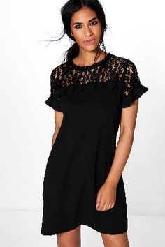 #boohoo Lace Ruffle Shift Dress - black DZZ62961 #Rezy Lace Ruffle Shift Dress - black