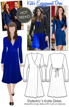 HOT TREND - Kate's Royal Dress, versatile wrap dress, fine knit jersey, medium