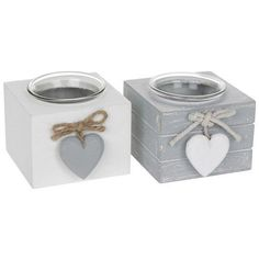 Joe Davies Set of 2 Provence Single Tealight Holders - Grey and White Wood Block Crafts, Cement Crafts, Wood Crafts, Glass Tea Light Holders, Tealight Candle Holders, Shabby Chic Candle, Cement Design, Wood For Sale, Funny Home Decor