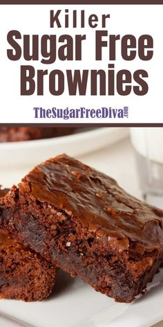 These Killer Sugar Free Brownies are amazing! This is a simple recipe to make and is the perfect sugar free dessert! These Killer Sugar Free Brownies are amazing! This is a simple recipe to make and is the perfect sugar free dessert! Sugar Free Deserts, No Sugar Desserts, Sugar Free Sweets, No Sugar Foods, Low Carb Desserts, Healthy Desserts, Desserts For Diabetics, Sugar Sugar, Brownie Recipe For Diabetics
