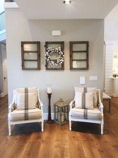 Cotton Wreath - Grain sack Upholstery Chairs - Wood Farmhouse Windows on Wall Street of Dreams