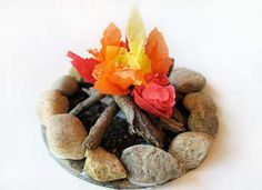You use an old CD, rocks, sticks, dirt, and tissue paper to make a campfire. I'm going to do this on a bigger scale & have Bible stories around a campfire one day! :) Kids will LOVE it! Great for fairy garden. Cd Crafts, Crafts For Boys, Arts And Crafts, Easy Crafts, Paper Crafts, Survivor Theme, Survivor Party, Summer Camp Crafts, Camping Crafts