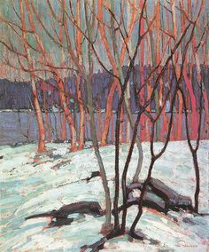 #TomThomson #GroupofSeven #art #painting #lake #wilderness (Canadian, 1877 – 1917) Master of snow