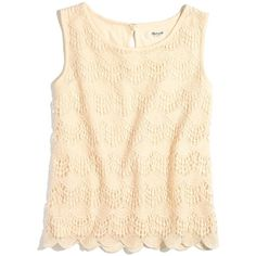 MADEWELL Soft Lace Tank ($60) ❤ liked on Polyvore