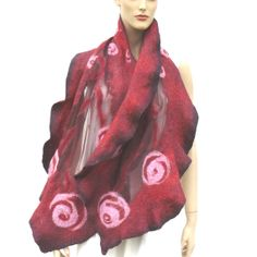 Nuno felted scarf silk and wool  mauve and pink by MajorLaura, $85.00
