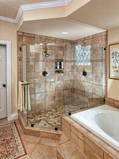 carrelage beige, salle de bain beige et grande cabine de douche