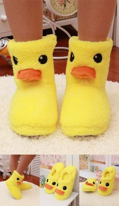 c124240060e  Visit to Buy  Big Yellow Duck Cute Cotton Slippers Women Winter Warm Home  Cotton-padded Shoes Soft bottom Indoor Plush CartoonSlippers