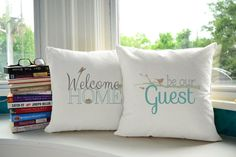 This pillow pair lends a fresh, whimsical feeling to any of your favorite places. Lovely and simple, these pillows are perfect for a study or library.
