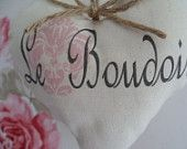 French Shabby Chic rustic Le Boudoir Pink Damask country Cream Calico fabric heart hanger with jute twine bow