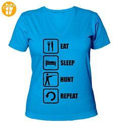 Eat Sleep Hunt Repeat Funny Black Graphic Women's V-Neck T-Shirt XX-Large (*Partner-Link)