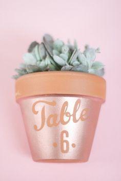 👰 Pour des centres de table de mariage on pense toujours aux fleurs, mais moins aux plantes vertes, en particuliers succulentes et cactus qui ne coûtent pas très cher, supporte d'être achetées quelques jours à l'avance et peuvent même faire office de petits cadeaux à distribuer aux invités après le brunch du lendemain. De la même manière les pots horticoles en terre cuite se prêtent à toute sorte de personnalisations. On peut les peindre, les vernir ou, comme ici, dessiner ce qu'on veut au…