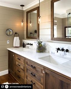 Are you looking for ideas for farmhouse bathroom? Browse around this site for perfect farmhouse bathroom inspiration. This farmhouse bathroom ideas seems totally amazing. Bathroom Renos, Bathroom Faucets, Bathroom Interior, Dark Wood Bathroom, Vanity Faucets, Bathroom Lighting, Rustic Master Bathroom, Bathroom Storage, Navy Bathroom