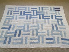 Antique Blue and White Quilt - Handstitched