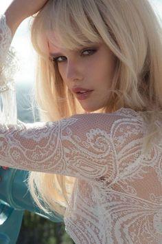 bangs + pout + intricate lace