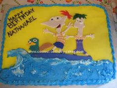 Homemade Phineas and Ferb Birthday Cake: I made this Phineas and Ferb Birthday Cake for my son's second birthday. He loves Phineas and Ferb. I looked all over the place and couldn't find anything