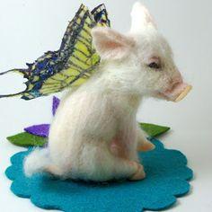 Needle Felted Art by Robin Joy Andreae: Flutter Piggy