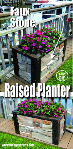 How to make this beautiful stone veneer raised planter. Easy DIY project. www.DIYeasycrafts.com