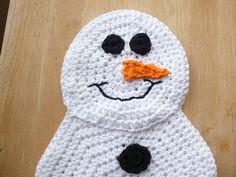 Crocheted Snowman Pot Holder/Hot Pad