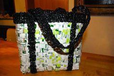 Geflochtene Tasche aus Tetrapacks