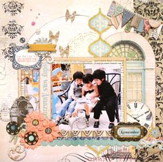 Kaori Fujimoto designed this stunning layout using so many beautiful elements from The Avenues collection. Love the butterflies and jewels. #BoBunny,
