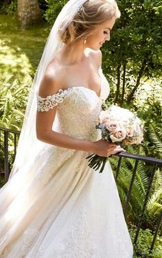 955 Elegant Off-the-Shoulder Wedding Gown by Martina Liana
