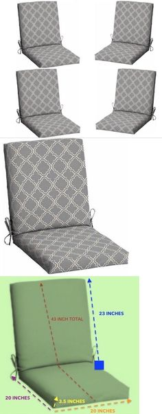 Cushions And Pads 79683: Gray Patio Furniture Cushions Set Of 4 Outdoor  Dining Chair Seat