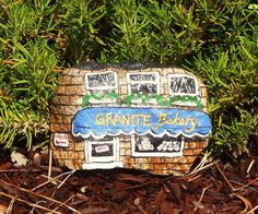Painted Rock Bakery for Garden Fairy or Gnome by Rhocolate on Etsy