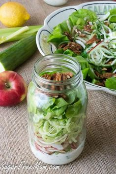 Mason Jar Spiralized Waldorf Salad made with creamy yogurt dressing and  no added sugar! Make once get 4 servings!