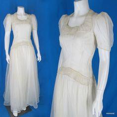 Vintage 1940s Wedding Dress Sheer Nylon Mesh Shirred Neckline & Waist + Slip XS  http://stores.ebay.com/mmmosts-Old-time-Stuff-and-Threads