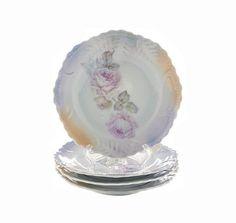 C A Lehmann Lustreware Plates Leuchtenburg Porcelain Germany Luster Pink Rose China Set of Four Vintage Dishes Pink Gray Gold Ombre