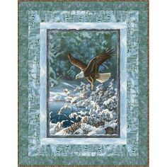 Wilmington Prints Winter Whispers by Michelle Mara Eagle Throw Quilt Kit 49 x Fabric Panel Quilts, Lap Quilts, Fabric Panels, Quilting Projects, Quilting Ideas, Quilting Designs, Sewing Projects, Wildlife Quilts, Bear Paw Quilt