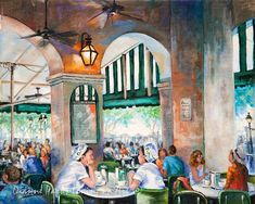 Cafe du Monde, New Orleans Art, New Orleans Painting, New Orleans Print, New Orleans French Quarter, Jackson Square Beignets, FREE SHIPPING!