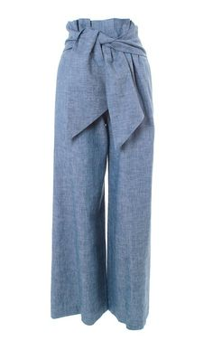 MSGM - Chambray culottes with knotted waist front