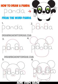 How to Draw Cartoon Pandas from the Word Panda Step by Step Tutorial for Kids  How to Draw Step by Step Drawing Tutorials