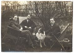 Citation: Marcel Duchamp, Jacques Villon, Raymond Duchamp-Villon, and Villon's dog Pipe in the garden of Villon's studio, Puteaux, France, ca. 1913 / unidentified photographer. Walt Kuhn, Kuhn family papers, and Armory Show records, Archives of American Art, Smithsonian Institution.