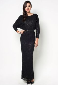 Batwing Lace Maxi Dress With Belt