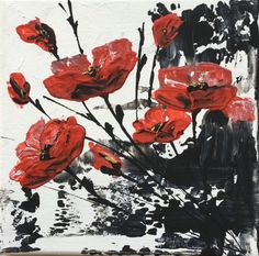 Red Poppies Black on White