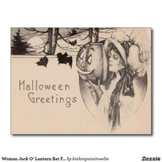 Woman Jack O' Lantern Bat Full Moon Postcard
