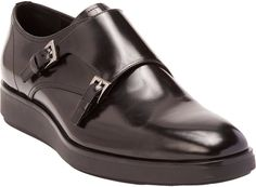 $820, Black Leather Double Monks: Prada Double Monk Shoes. Sold by Barneys New York. Click for more info: http://lookastic.com/men/shop_items/91219/redirect