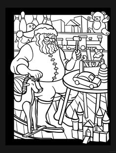 santas workshop stained glass coloring book