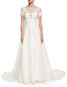 LM Collection Embroidered-Lace Short-Sleeve Gown, White at Last Call by Neiman Marcus #affiliatelink