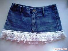 Resultado de imagen de crochet jean skirt