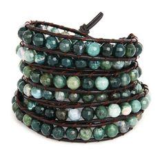 Chen Rai Moss Agate Wrap Bracelet on Brown Leather Cord