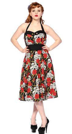 7521fe2e8640 Rose and Skulls Halter Swing Dress Banned Apparel
