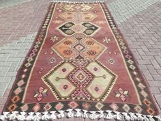 """Turkish Kilim Rug,Antique Rug,Vintage Rugs,Wool Rug 64,9""""x135,8"""" Area Rug,Carpet #Turkish"""
