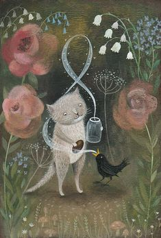 The Song Catcher Giclee Print Whimsical and Magical Cat