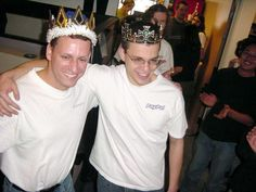 Peter Thiel and Max Levchin celebrating PayPal finally going public